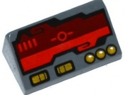 Lego alkatrész - Dark Bluish Gray Slope 30 1x2x2/3 with Dark Red Horizon Screen and Gold Switches and Buttons Pattern