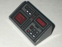 Lego alkatrész - Dark Bluish Gray Slope 30 1x2x2/3 with Red and White Buttons and Two Red Screens Pattern