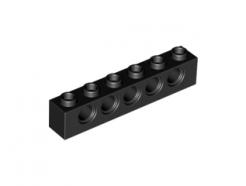 LEGO alkatrész - Black Brick 1x6 with Holes