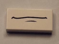 LEGO Alkatrészek - White Tile 1x2 with Mouth Pattern (Shu Todoroki)