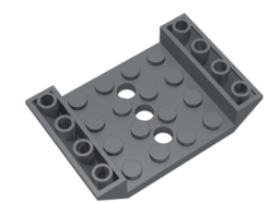 Lego alkatrész - Dark Bluish Gray Slope, Inverted 45 6 x 4 Double with 4 x 4 Cutout and 3 Holes