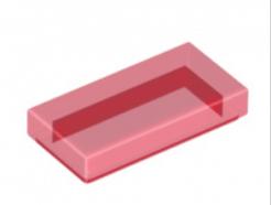 LEGO alkatrész - Trans-Red Tile 1 x 2 with Groove