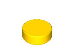 Lego alkatrész - Yellow Tile, Round 1 x 1