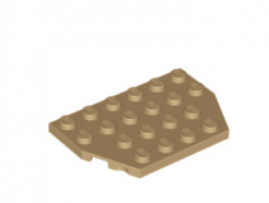 LEGO alkatrész - Dark Tan Wedge, Plate 4 x 6 Cut Corners