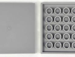 LEGO alkatrész - Light Bluish Gray Tile 6 x 6 with Bottom Tubes
