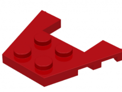 LEGO alkatrész - Red Wedge, Plate 3 x 4 with Stud Notches