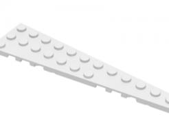 LEGO alkatrész - White Wedge, Plate 12 x 3 Right