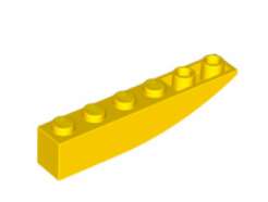 LEGO alkatrész - Yellow Slope, Curved 6 x 1 Inverted