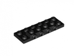 LEGO alkatrész - Black Plate, Modified 2 x 6 x 2/3 with 4 Studs on Side