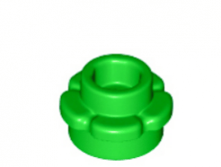 LEGO alkatrész - Bright Green Plate, Round 1 x 1 with Flower Edge (5 Petals)