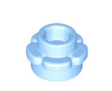 LEGO alkatrész - Bright Light Blue Plate, Round 1 x 1 with Flower Edge (5 Petals)