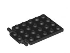 LEGO alkatrész - Black Plate, Modified 4 x 6 with Trap Door Hinge (Long Pins)