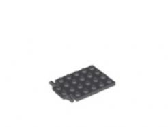 LEGO alkatrész - Dark Bluish Gray Plate, Modified 4 x 6 with Trap Door Hinge (Long Pins)