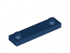 LEGO alkatrész - Dark Blue Plate, Modified 1 x 4 with 2 Studs without Groove