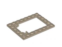 LEGO alkatrész - Dark Tan Plate, Modified 6 x 8 Trap Door Frame Horizontal (Long Pin Holders)