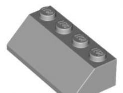 LEGO alkatrész - Light Bluish Gray Slope 45 2 x 4