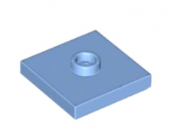 LEGO alkatrész - Medium Blue Plate, Modified 2 x 2 with Groove and 1 Stud in Center (Jumper)
