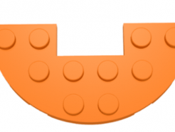 LEGO alkatrész - Orange Plate, Round Half 3 x 6 with 1 x 2 Cutout