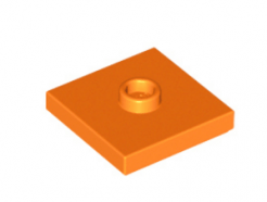 LEGO alkatrész - Orange Plate, Modified 2 x 2 with Groove and 1 Stud in Center (Jumper)