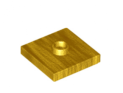 LEGO alkatrész - Pearl Gold Plate, Modified 2 x 2 with Groove and 1 Stud in Center (Jumper)