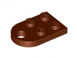 LEGO alkatrész - Reddish Brown Plate, Modified 3 x 2 with Hole
