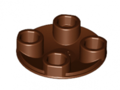 LEGO alkatrész - Reddish Brown Plate, Round 2 x 2 with Rounded Bottom (Boat Stud)