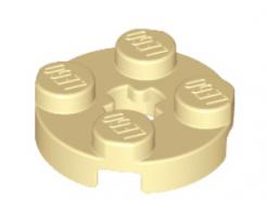 LEGO alkatrész - Tan Plate, Round 2 x 2 with Axle Hole