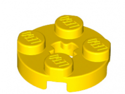 LEGO alkatrész - Yellow Plate, Round 2 x 2 with Axle Hole