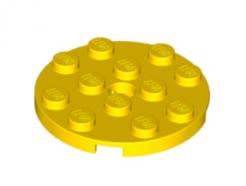 LEGO alkatrész - Yellow Plate, Round 4 x 4 with Hole