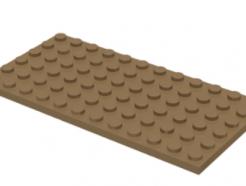 LEGO alkatrész - Dark Tan Plate 6 x 12