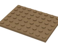 LEGO alkatrész - Dark Tan Plate 6 x 8