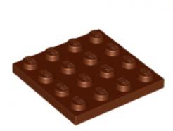 LEGO alkatrész - Reddish Brown Plate 4 x 4